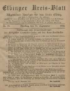 Kreis-Blatt des Königlich Preußischen Landraths-Amtes zu Elbing, Nr. 78 Dienstag 26 September 1899