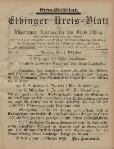 Kreis-Blatt des Königlich Preußischen Landraths-Amtes zu Elbing, Nr. 80 Montag 2 Oktober 1899