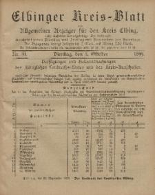 Kreis-Blatt des Königlich Preußischen Landraths-Amtes zu Elbing, Nr. 81 Dienstag 3 Oktober 1899