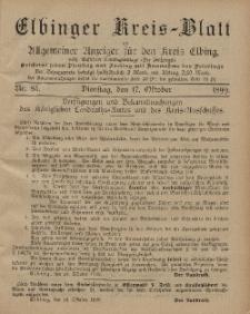 Kreis-Blatt des Königlich Preußischen Landraths-Amtes zu Elbing, Nr. 85 Dienstag 17 Oktober 1899