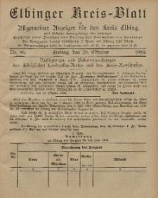 Kreis-Blatt des Königlich Preußischen Landraths-Amtes zu Elbing, Nr. 86 Freitag 20 Oktober 1899