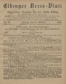 Kreis-Blatt des Königlich Preußischen Landraths-Amtes zu Elbing, Nr. 89 Freitag 27 Oktober 1899