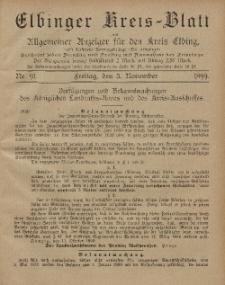 Kreis-Blatt des Königlich Preußischen Landraths-Amtes zu Elbing, Nr. 91 Freitag 3 November 1899