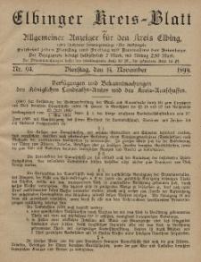Kreis-Blatt des Königlich Preußischen Landraths-Amtes zu Elbing, Nr. 94 Dienstag 14 November 1899