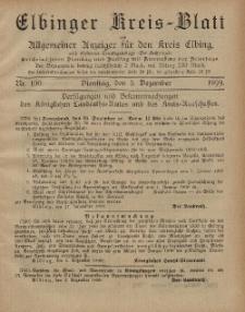 Kreis-Blatt des Königlich Preußischen Landraths-Amtes zu Elbing, Nr. 100 Dienstag 5 Dezember 1899