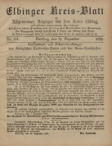 Kreis-Blatt des Königlich Preußischen Landraths-Amtes zu Elbing, Nr. 104 Dienstag 19 Dezember 1899