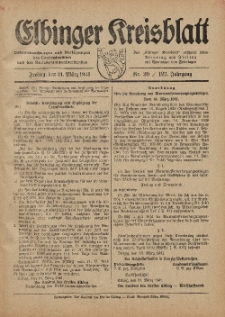 Kreis-Blatt des Königlich Preußischen Landraths-Amtes zu Elbing, Nr. 20 / 123 Jahrgang, Freitag 21 März 1941