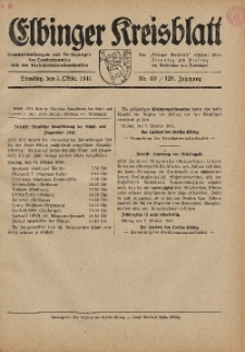 Kreis-Blatt des Königlich Preußischen Landraths-Amtes zu Elbing, Nr. 69 / 123 Jahrgang, Dienstag 7 Oktober 1941