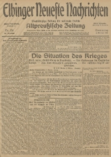 Elbinger Neueste Nachrichten, Nr. 276 Donnerstag 8 Oktober 1914 66. Jahrgang