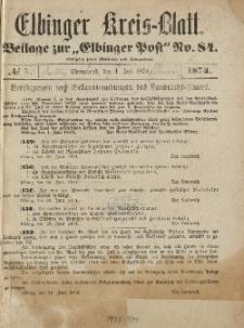 Kreis-Blatt des Königlich Preußischen Landraths-Amtes zu Elbing, Nr. 1 Sonnabend 4 Juli 1874