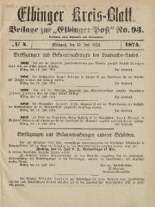 Kreis-Blatt des Königlich Preußischen Landraths-Amtes zu Elbing, Nr. 4 Mittwoch 15 Juli 1874