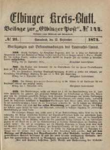 Kreis-Blatt des Königlich Preußischen Landraths-Amtes zu Elbing, Nr. 21 Sonnabend 12 September 1874