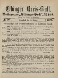 Kreis-Blatt des Königlich Preußischen Landraths-Amtes zu Elbing, Nr. 29 Sonnabend 10 Oktober 1874
