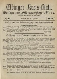 Kreis-Blatt des Königlich Preußischen Landraths-Amtes zu Elbing, Nr. 32 Mittwoch 21 Oktober 1874