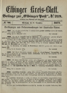 Kreis-Blatt des Königlich Preußischen Landraths-Amtes zu Elbing, Nr. 46 Mittwoch 9 Dezember 1874