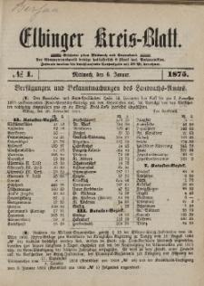 Kreis-Blatt des Königlich Preußischen Landraths-Amtes zu Elbing, Nr. 1 Mittwoch 6 Januar 1875
