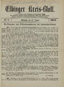 Kreis-Blatt des Königlich Preußischen Landraths-Amtes zu Elbing, Nr. 7 Mittwoch 27 Januar 1875