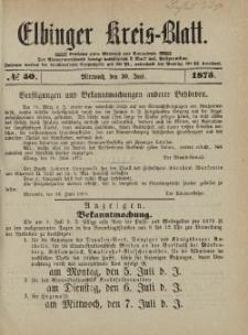 Kreis-Blatt des Königlich Preußischen Landraths-Amtes zu Elbing, Nr. 50 Mittwoch 30 Juni 1875