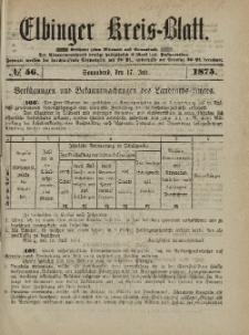 Kreis-Blatt des Königlich Preußischen Landraths-Amtes zu Elbing, Nr. 56 Sonnabend 17 Juli 1875