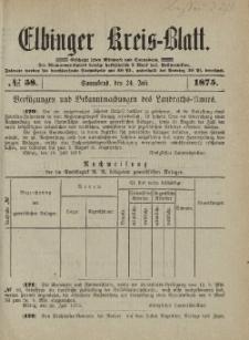 Kreis-Blatt des Königlich Preußischen Landraths-Amtes zu Elbing, Nr. 58 Sonnabend 24 Juli 1875