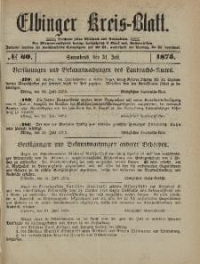 Kreis-Blatt des Königlich Preußischen Landraths-Amtes zu Elbing, Nr. 60 Sonnabend 31 Juli 1875