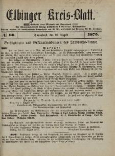Kreis-Blatt des Königlich Preußischen Landraths-Amtes zu Elbing, Nr. 66 Sonnabend 21 August 1875