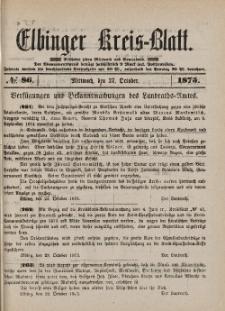Kreis-Blatt des Königlich Preußischen Landraths-Amtes zu Elbing, Nr. 86 Mittwoch 27 Oktober 1875