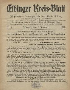 Kreis-Blatt des Königlich Preußischen Landraths-Amtes zu Elbing, Nr. 1 Mittwoch 2 Januar 1907
