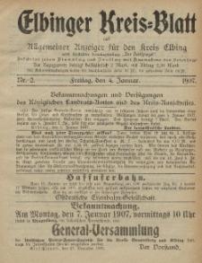 Kreis-Blatt des Königlich Preußischen Landraths-Amtes zu Elbing, Nr. 2 Freitag 4 Januar 1907