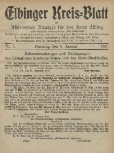 Kreis-Blatt des Königlich Preußischen Landraths-Amtes zu Elbing, Nr. 3 Dienstag 8 Januar 1907