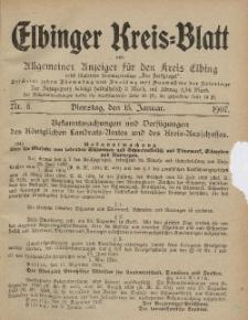 Kreis-Blatt des Königlich Preußischen Landraths-Amtes zu Elbing, Nr. 5 Dienstag 15 Januar 1907