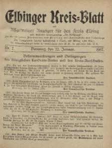 Kreis-Blatt des Königlich Preußischen Landraths-Amtes zu Elbing, Nr. 7 Dienstag 22 Januar 1907