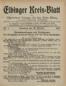 Kreis-Blatt des Königlich Preußischen Landraths-Amtes zu Elbing, Nr. 9 Dienstag 29 Januar 1907