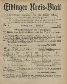 Kreis-Blatt des Königlich Preußischen Landraths-Amtes zu Elbing, Nr. 11 Freitag 1 Februar 1907