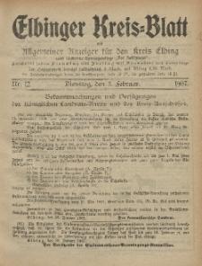 Kreis-Blatt des Königlich Preußischen Landraths-Amtes zu Elbing, Nr. 12 Dienstag 5 Februar 1907