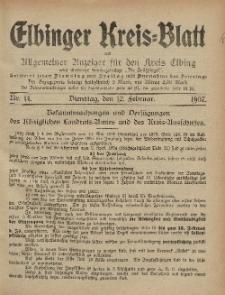 Kreis-Blatt des Königlich Preußischen Landraths-Amtes zu Elbing, Nr. 14 Dienstag 12 Februar 1907