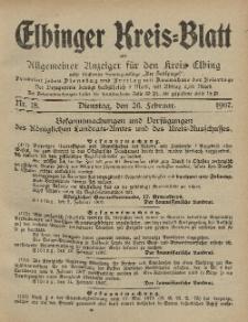 Kreis-Blatt des Königlich Preußischen Landraths-Amtes zu Elbing, Nr. 18 Dienstag 26 Februar 1907