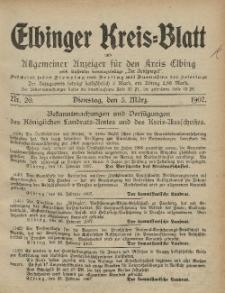 Kreis-Blatt des Königlich Preußischen Landraths-Amtes zu Elbing, Nr. 20 Dienstag 5 März 1907