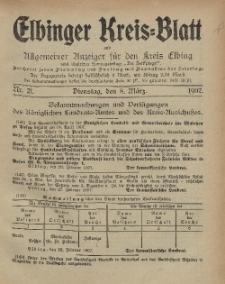 Kreis-Blatt des Königlich Preußischen Landraths-Amtes zu Elbing, Nr. 21 Dienstag 8 März 1907