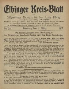 Kreis-Blatt des Königlich Preußischen Landraths-Amtes zu Elbing, Nr. 22 Dienstag 12 März 1907