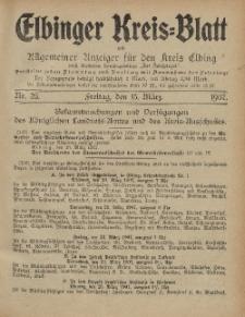 Kreis-Blatt des Königlich Preußischen Landraths-Amtes zu Elbing, Nr. 23 Freitag 15 März 1907
