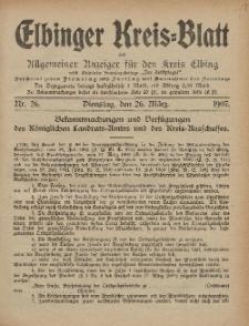 Kreis-Blatt des Königlich Preußischen Landraths-Amtes zu Elbing, Nr. 26 Dienstag 26 März 1907