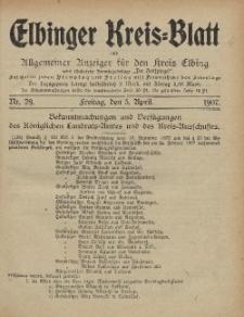 Kreis-Blatt des Königlich Preußischen Landraths-Amtes zu Elbing, Nr. 29 Freitag 5 April 1907