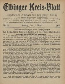 Kreis-Blatt des Königlich Preußischen Landraths-Amtes zu Elbing, Nr. 31 Freitag 12 April 1907
