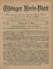 Kreis-Blatt des Königlich Preußischen Landraths-Amtes zu Elbing, Nr. 33 Freitag 19 April 1907