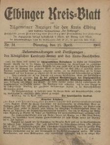 Kreis-Blatt des Königlich Preußischen Landraths-Amtes zu Elbing, Nr. 34 Dienstag 23 April 1907
