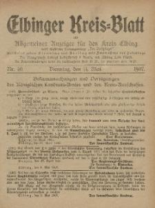Kreis-Blatt des Königlich Preußischen Landraths-Amtes zu Elbing, Nr. 40 Dienstag 14 Mai 1907