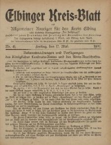 Kreis-Blatt des Königlich Preußischen Landraths-Amtes zu Elbing, Nr. 41 Freitag 17 Mai 1907
