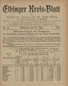 Kreis-Blatt des Königlich Preußischen Landraths-Amtes zu Elbing, Nr. 42 Mittwoch 22 Mai 1907
