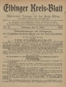 Kreis-Blatt des Königlich Preußischen Landraths-Amtes zu Elbing, Nr. 48 Dienstag 11 Juni 1907